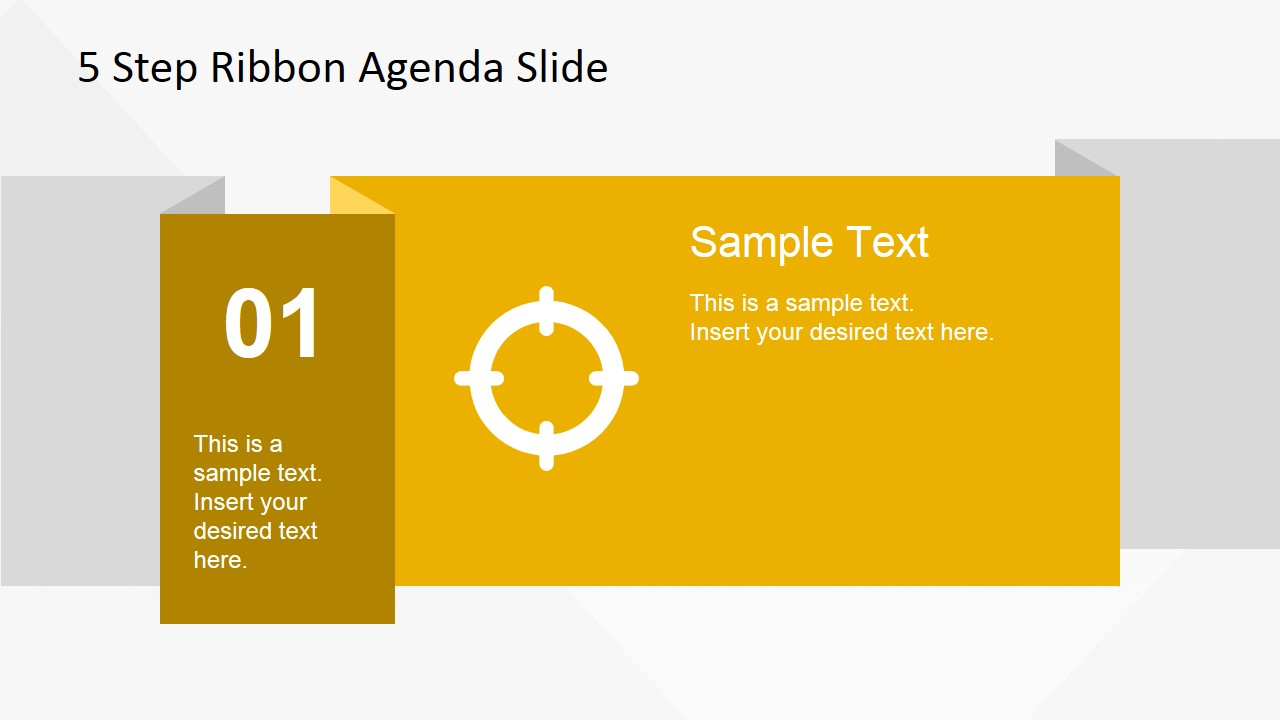 5 items ribbon agenda slide template for powerpoint slidemodel 01 ribbon slide design for powerpoint alramifo Image collections