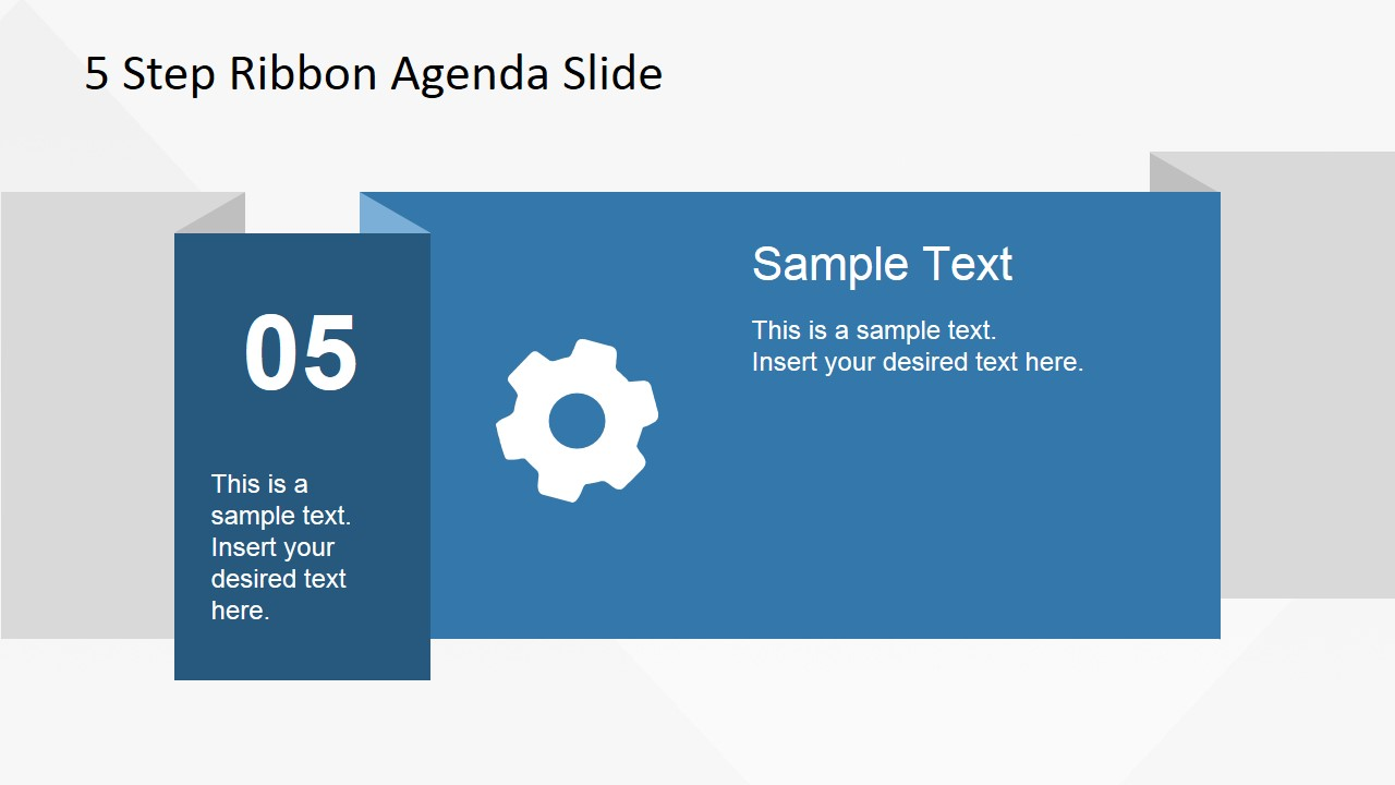 5 items ribbon agenda slide template for powerpoint - slidemodel, Modern powerpoint