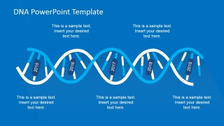 Blue Palette DNA Strands Timeline Design for PowerPoint