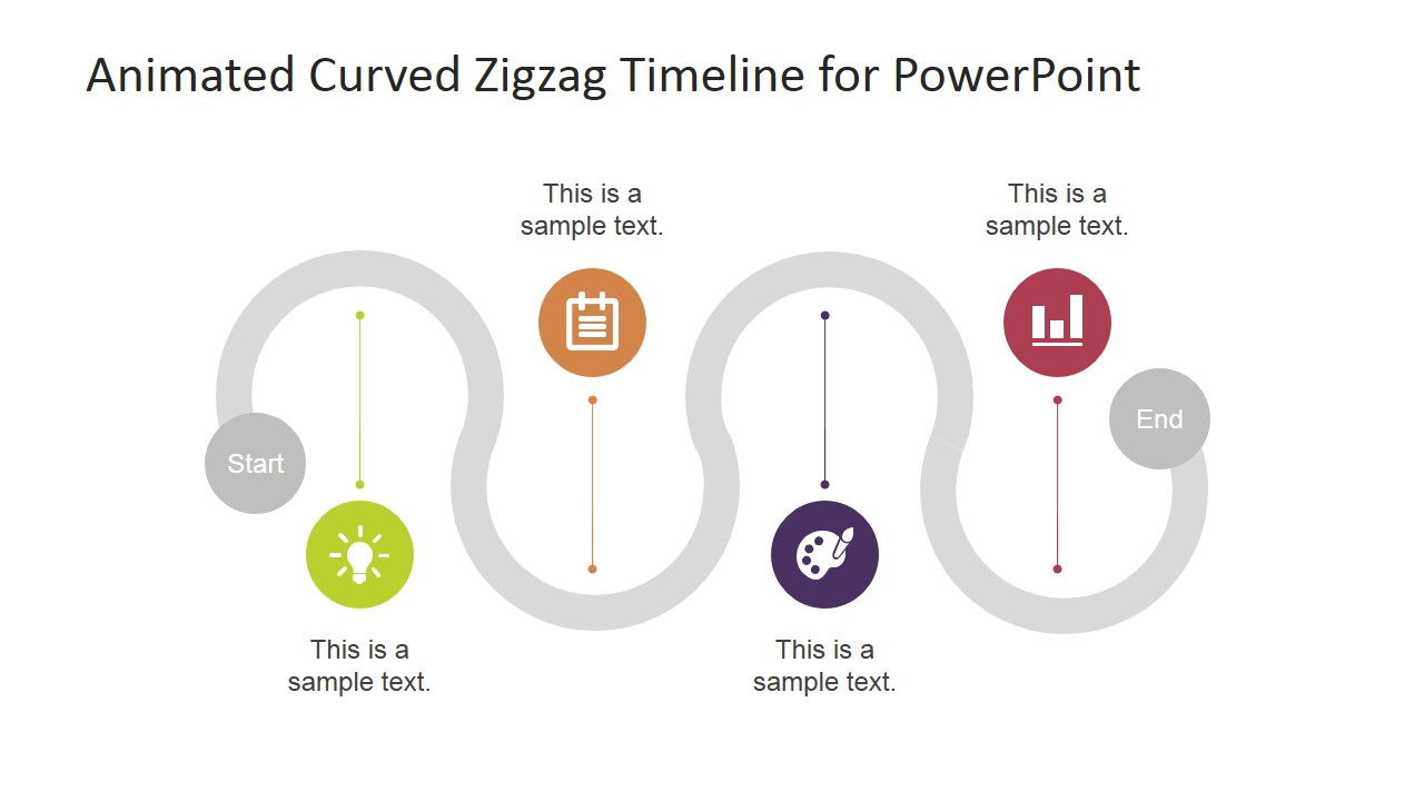 clean grey roadmap timeline zig zag