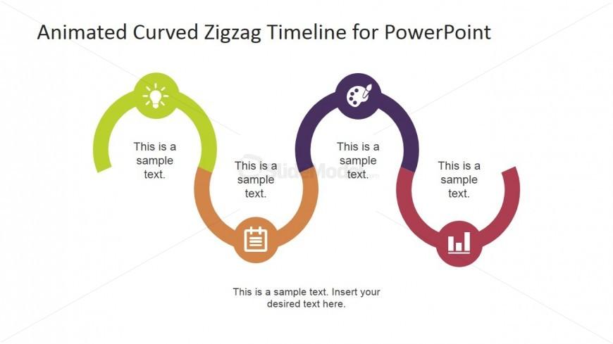 PowerPoint Roadmap Described with Icons Milestones