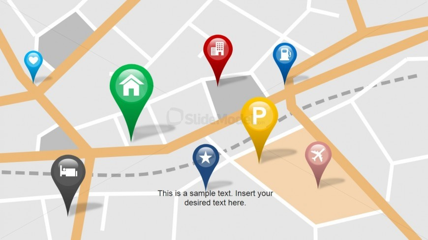 PowerPoint Markers Clipart over City Map