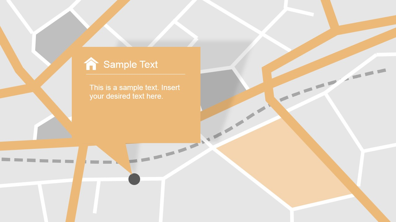Map with gps icons powerpoint template slidemodel powerpoint streets map with location highlight toneelgroepblik Gallery