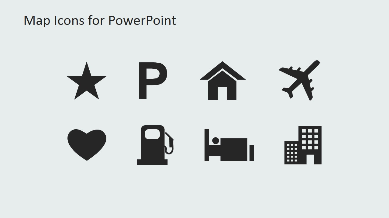 map with gps icons powerpoint template
