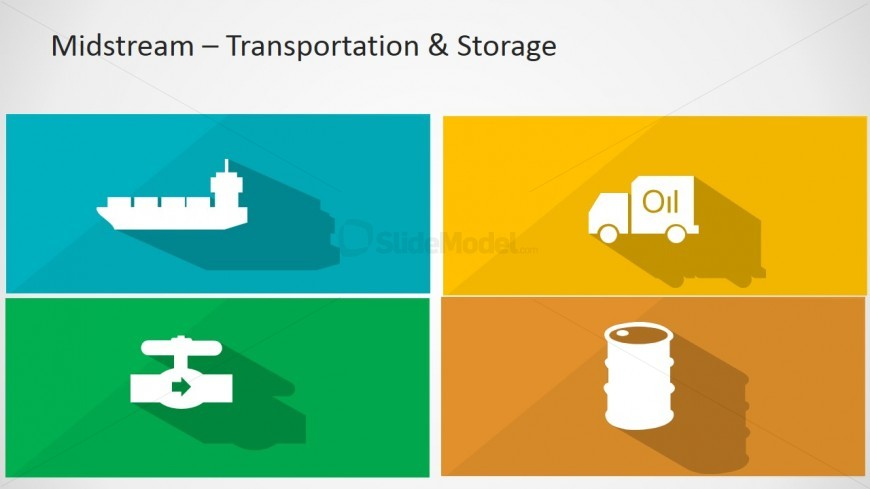 PowerPoint Longshadow Flat Icons of Oil and Gas Midstream Sector