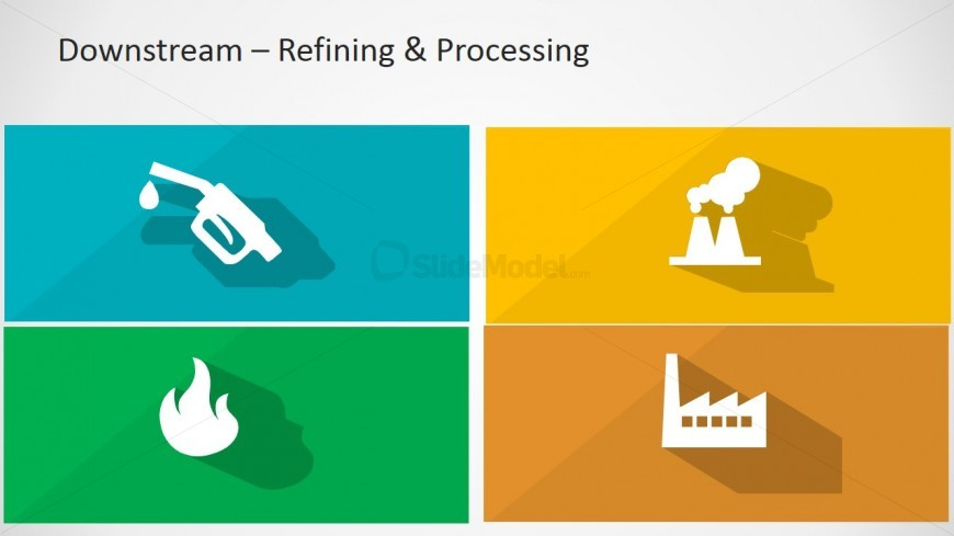Flat Icons Longshadow Design of Oil and Gas Downstream Sector