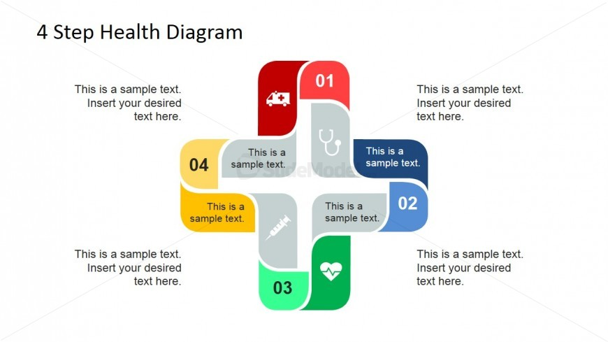 4 Steps Health Care Diagram for PowerPoint with Clipart
