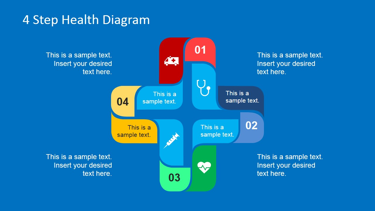 Colorful Healthcare 4 Steps Diagram
