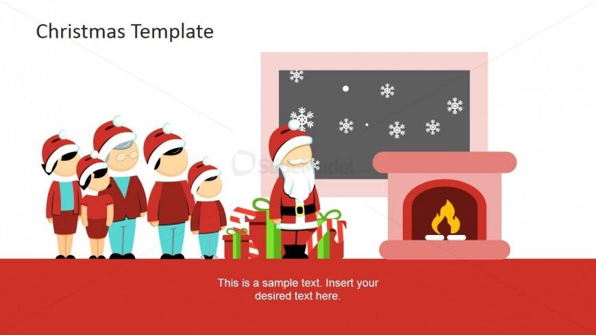 PowerPoint Clipart Scene Family and Santa