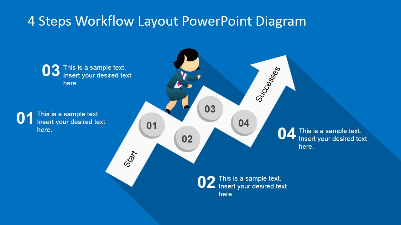 4 steps workflow layout powerpoint diagram slidemodel
