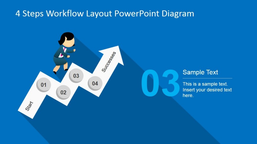 Four Steps Ladder Arrow for PowerPoint