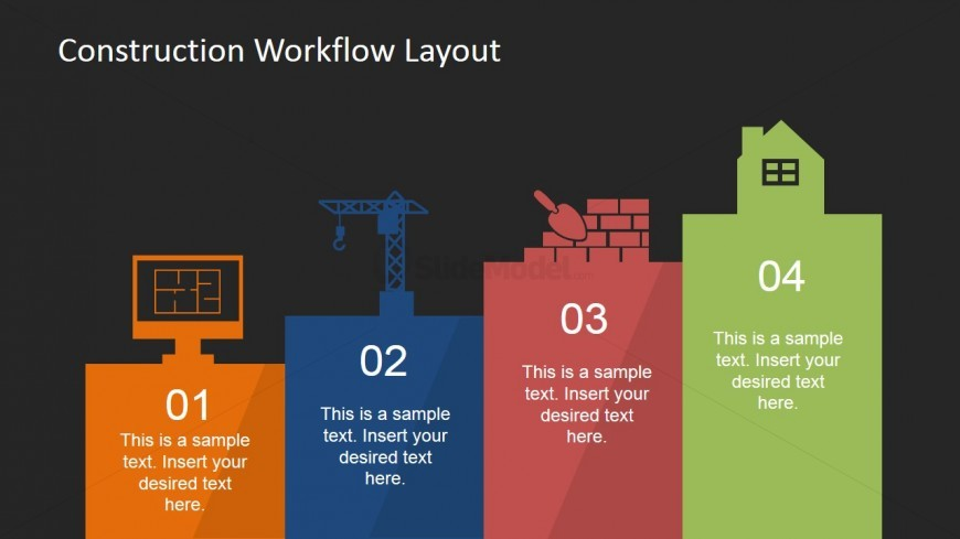 PowerPoint Construction Industry Stages Diagram