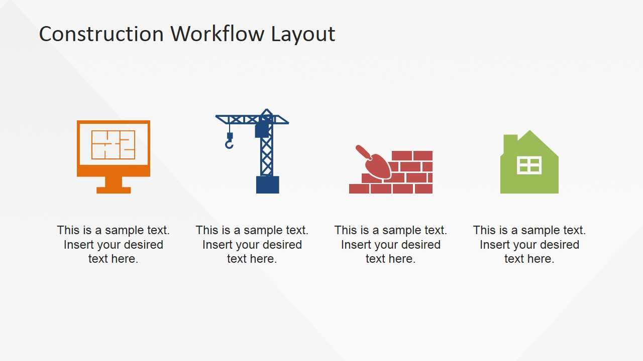 Construction workflow layout for powerpoint slidemodel clip art icons 4 step workflow model for construction industry ccuart Images