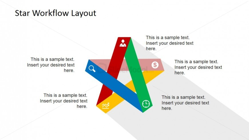 Five Steps Flat Design Start Daigram for PowerPoint