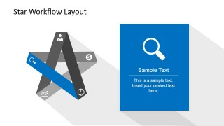 PowerPoint 5 Steps Start Diagram with Magnify Icon