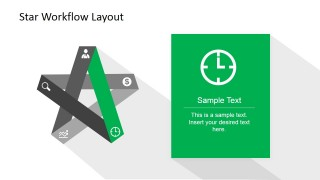 PowerPoint 5 Corners Star Model with Clock Edge and Icon Highlighted