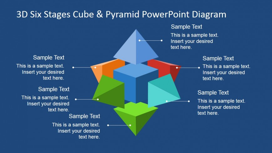 PowerPoint 3D Six Stages Diagram