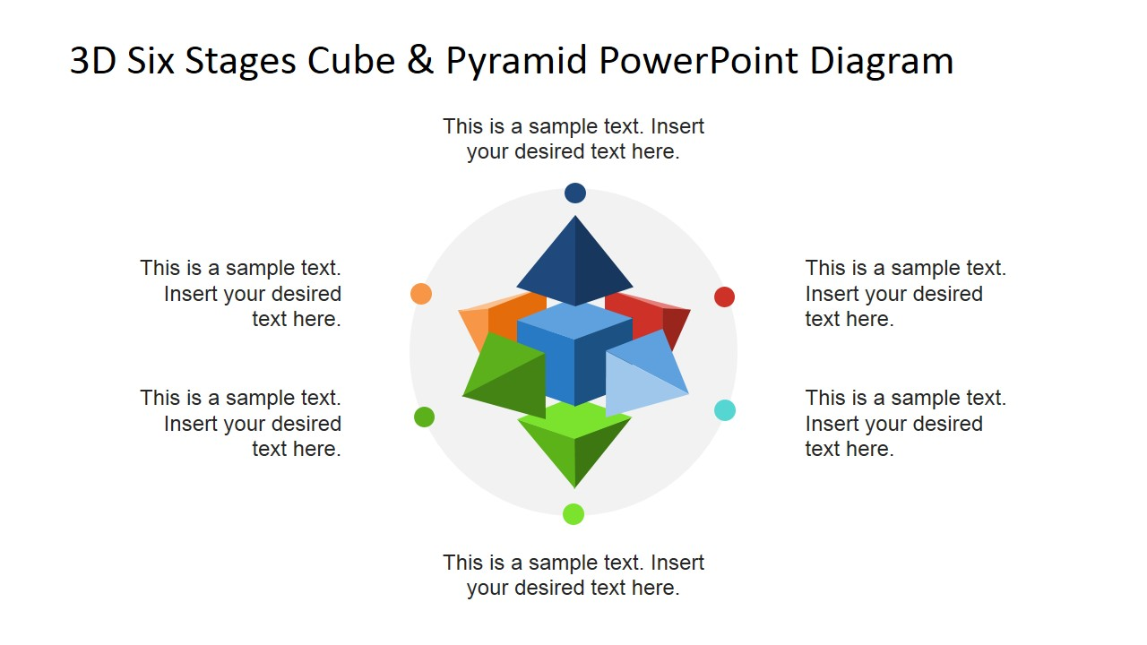 Circular Diagram with 3D Cube & Pyramid PowerPoint Shapes - SlideModel