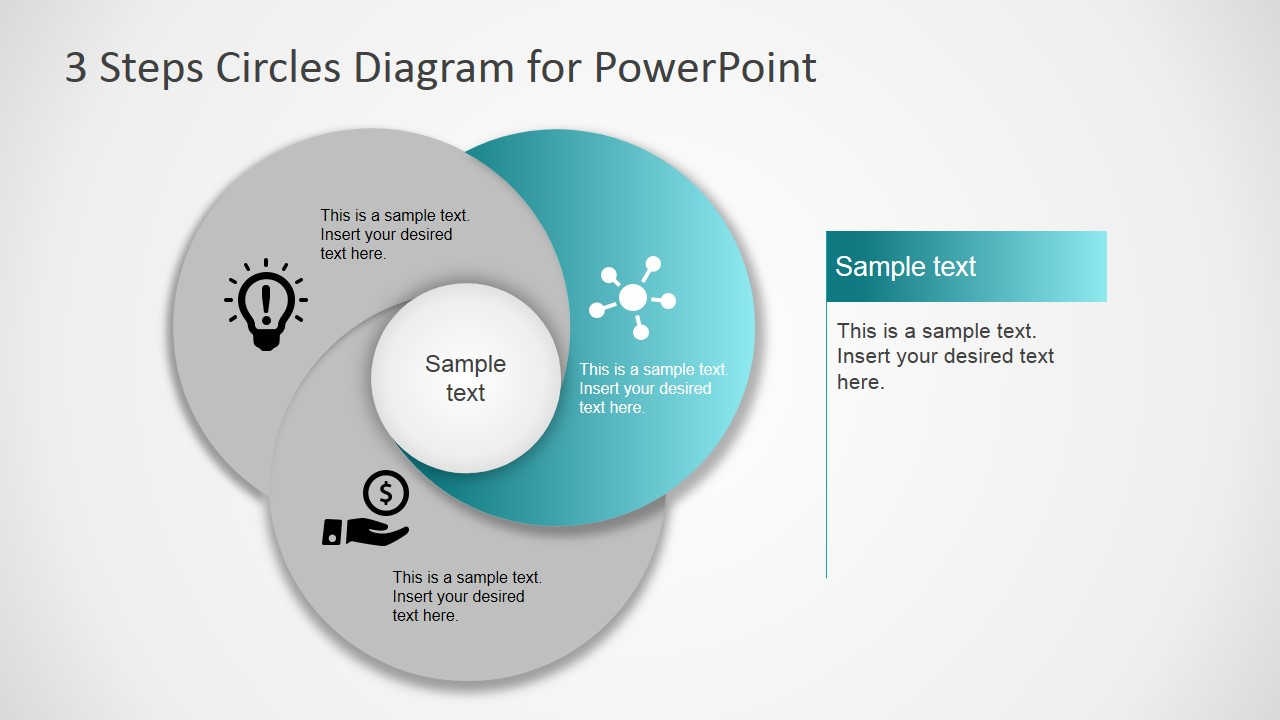 3 step circles diagram for powerpoint slidemodel 3 step diagram for powerpoint overlapping circles powerpoint circular diagram with first step highlighted second step circular diagram overlapping shapes pooptronica Gallery