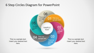 PowerPoint Six Steps Overlapping Circles Diagram