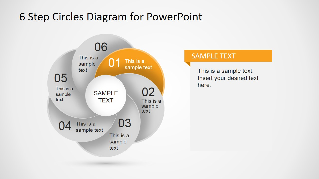 PowerPoint 6 Circles Overlapping Step Diagram