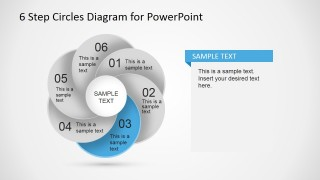 Six Steps Overlapping Circular Diagram with Third Step Highlight