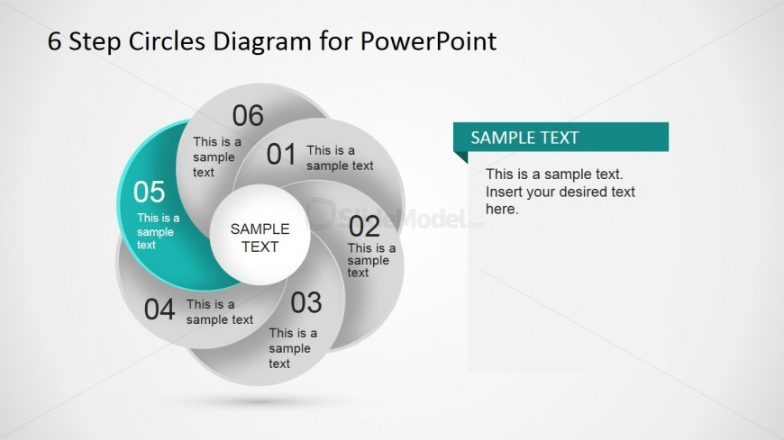 PowerPoint Circular Shapes forming 6 Steps Diagram