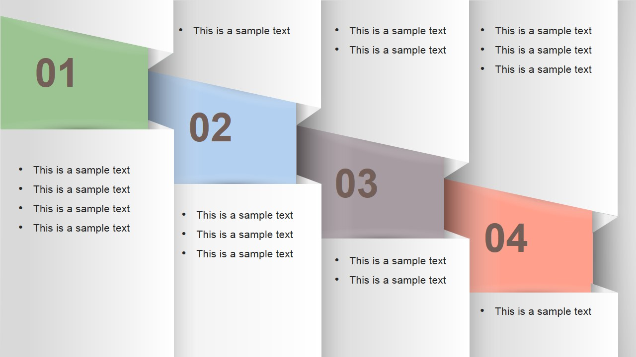 Numbered Vertical Banner Template Layout for PowerPoint