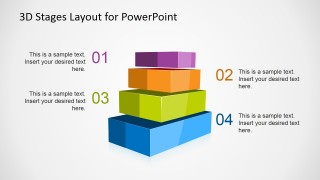 Multi-Color 4 Levels 3D Staged Diagram for PowerPoint