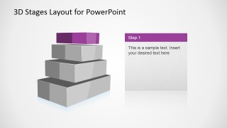 4 Levels 3D Staged Diagram for PowerPoint - Level 1