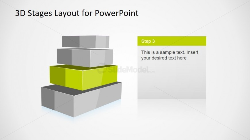 4 Levels 3D Staged Diagram for PowerPoint - Level 3