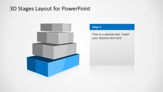 4 Levels 3D Staged Diagram for PowerPoint – Level 4