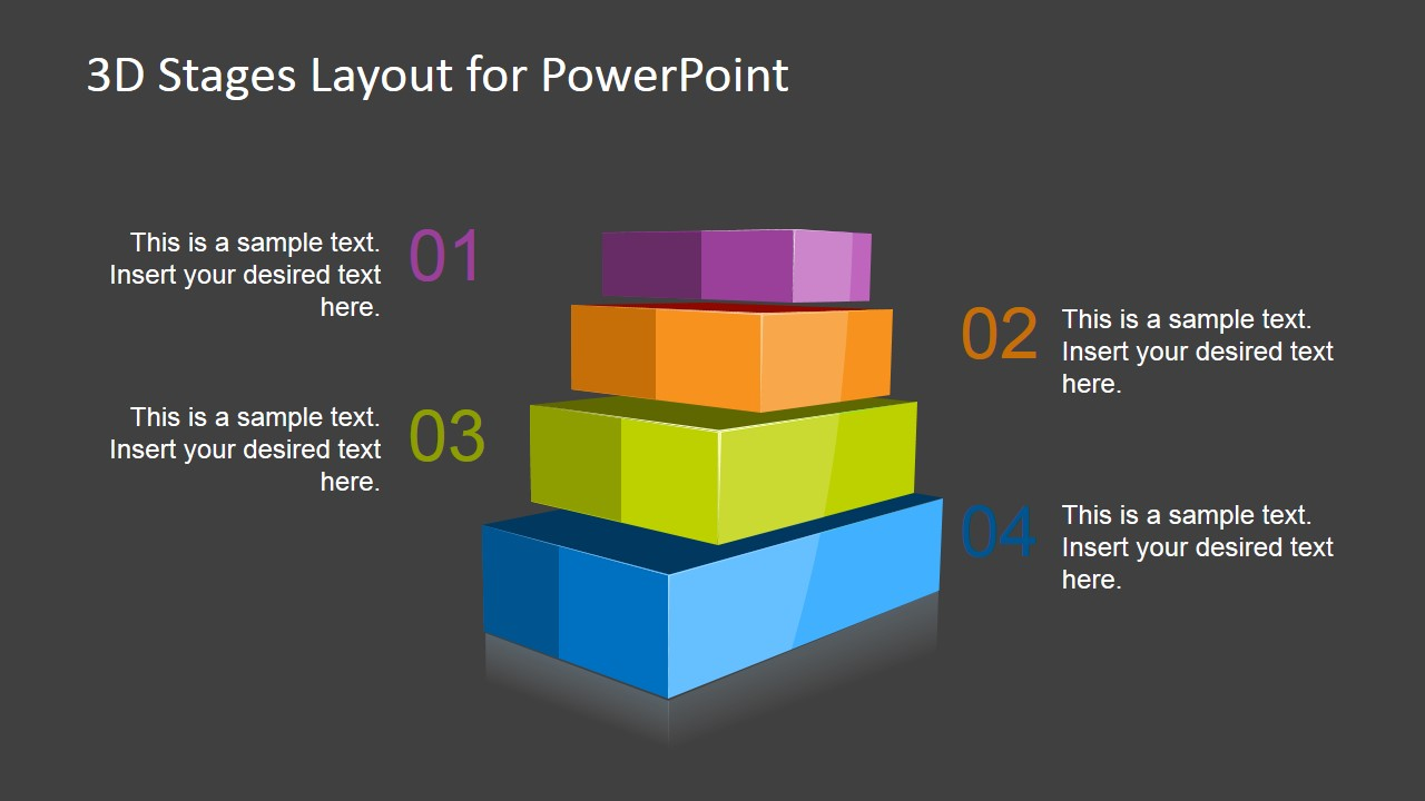 3D Stages Layout Template for PowerPoint with 4 Levels - SlideModel