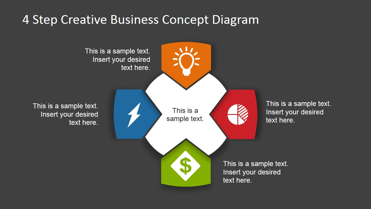 4 step business concept diagram for powerpoint dark
