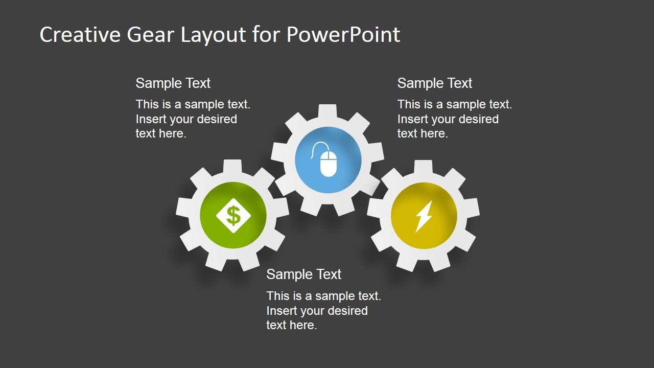 Creative gear layout powerpoint template slidemodel 3 gear shapes for powerpoint toneelgroepblik Choice Image