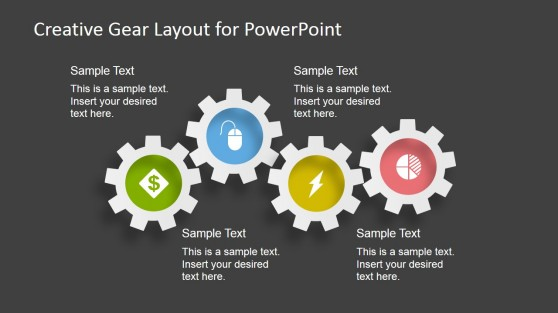 4 Gears - Gear Layout for PowerPoint