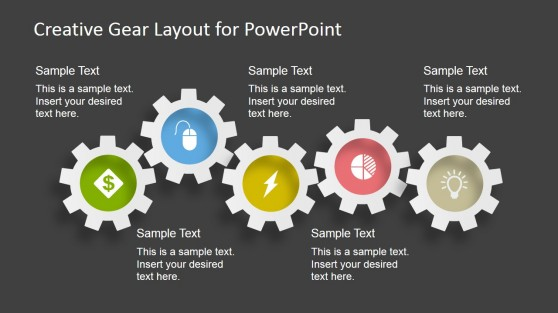 5 Gears - Gear Layout for PowerPoint