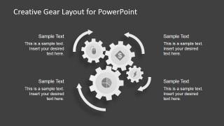 4 Steps Circular Gears Process for PowerPoint