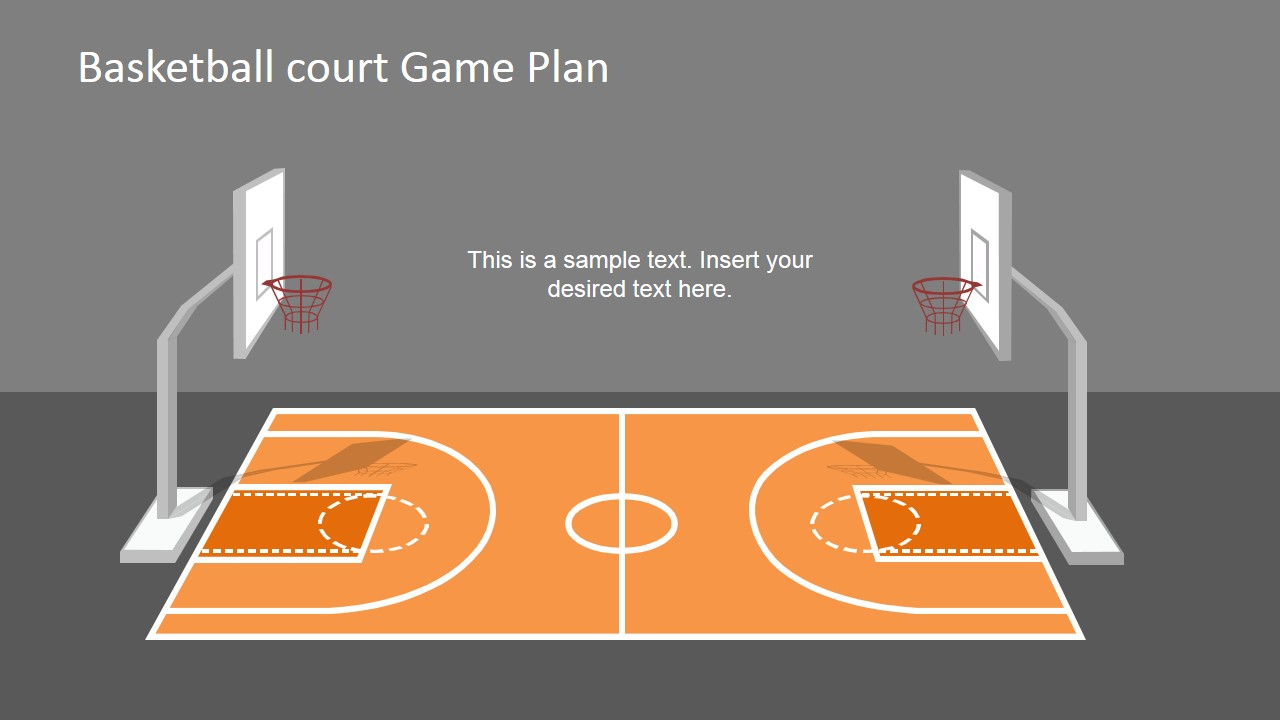 Basketball court game plan powerpoint shapes slidemodel for Basketball court design template