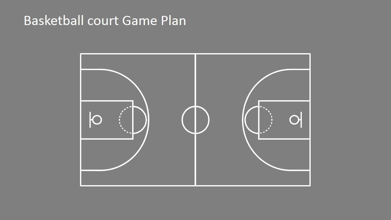 Basketball court game plan powerpoint shapes slidemodel for Outdoor basketball court template
