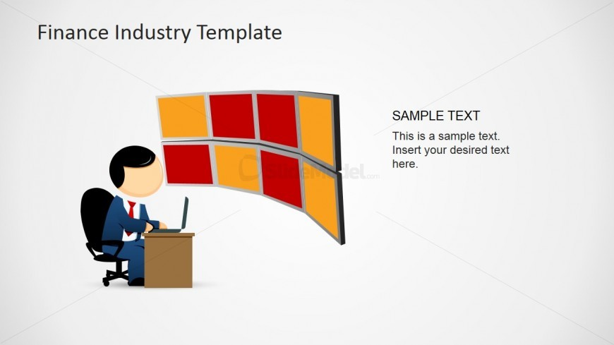 Mike Clipart with Finance Desk with Monitors Trading Markets