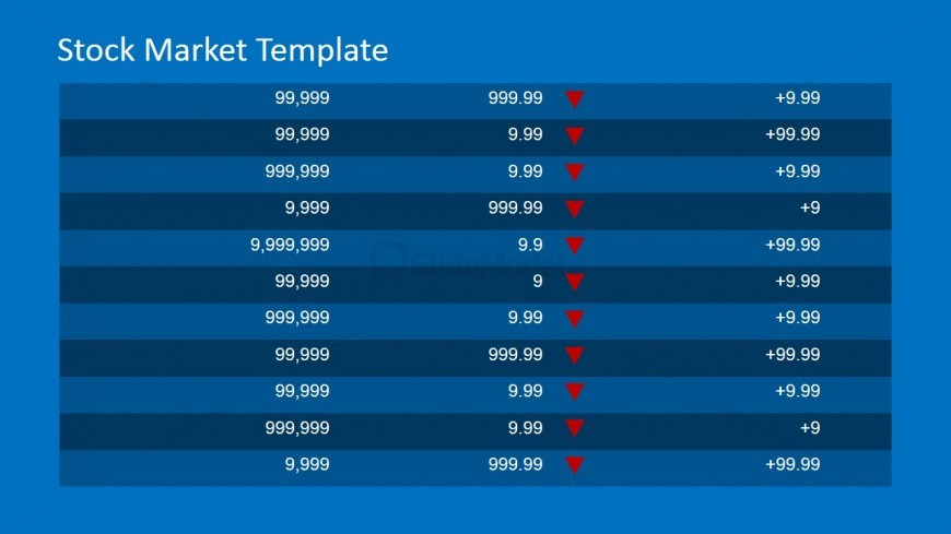 PowerPoint Table with Prices and Trend Arrow Icon