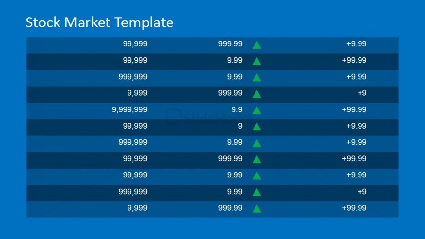 Prices with Up Trend Icon PowerPoint Table.