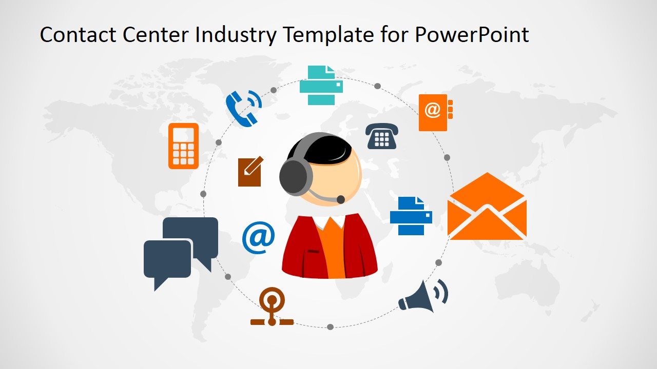 contact center industry powerpoint template - slidemodel, Modern powerpoint