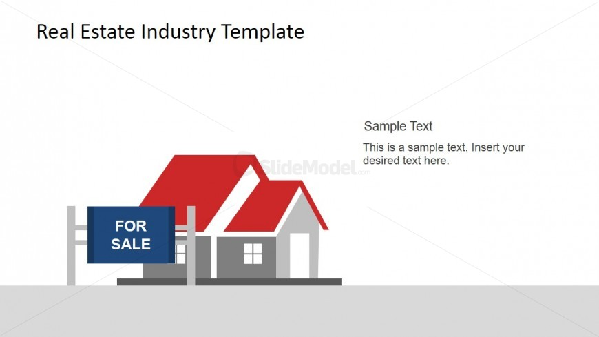 for sale sign and house powerpoint scene slidemodel