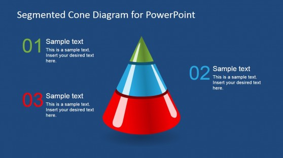 3D Segmented Cone Diagram for PowerPoint - 3 Segments