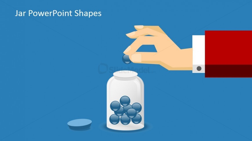 Creative Flat Hand Dropping a Ball into a Jar with blue background