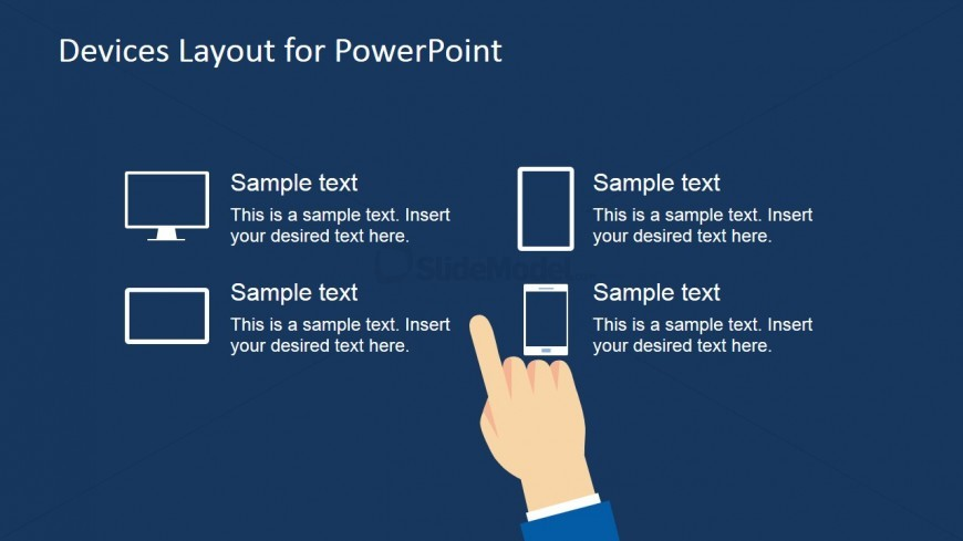 Hand Touching Technology Devices for PowerPoint