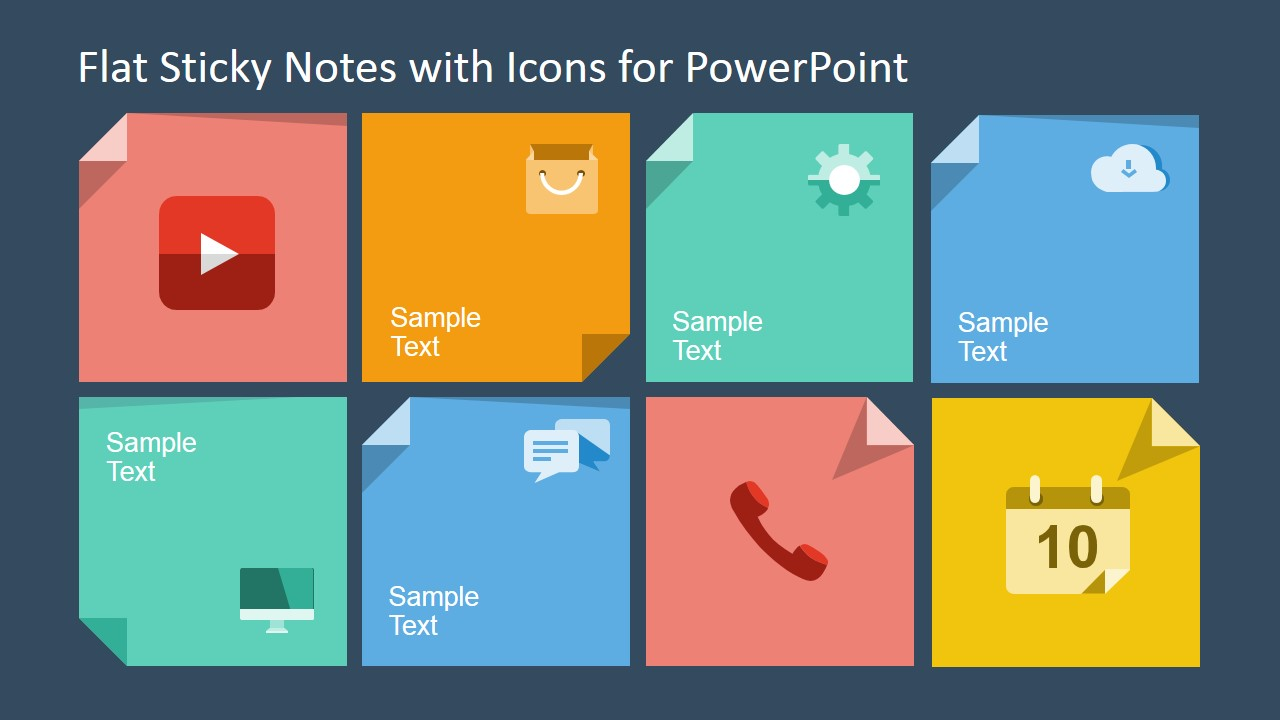 Flat Sticky Notes With Icons For Powerpoint Slidemodel