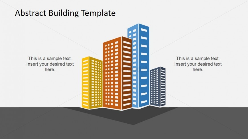 PowerPoint Clipart – Four Colored Buildings